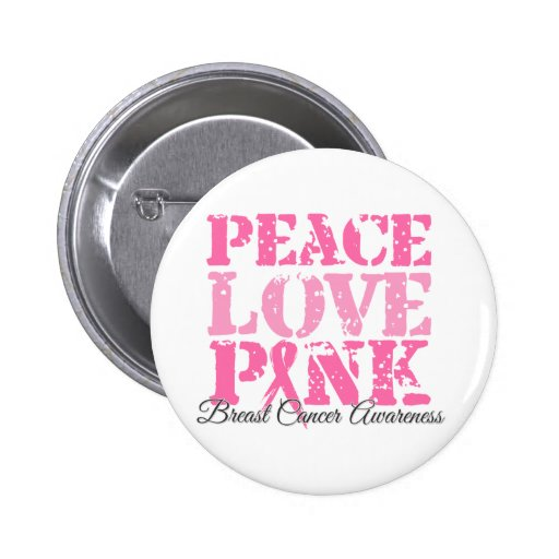Peace Love Pink 2 Inch Round Button