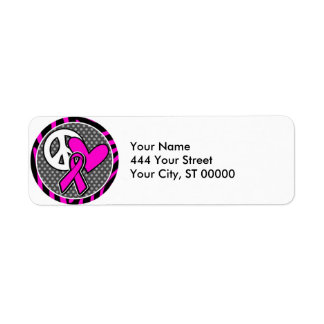 peace love pink awareness ribbon label