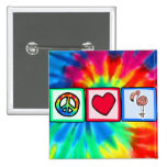 Peace, Love, Pink Flamingos 2 Inch Square Button