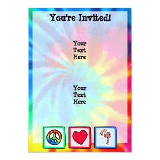 Peace, Love, Pink Flamingos 5x7 Paper Invitation Card