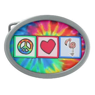 Peace, Love, Pink Flamingos Oval Belt Buckles