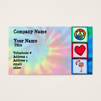 Peace, Love, Pink Flamingos Business Card