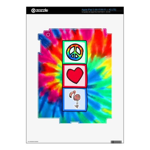 Peace, Love, Pink Flamingos Decal For iPad 3