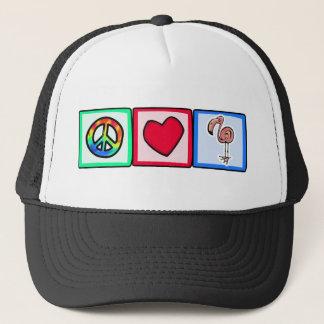 Peace, Love, Pink Flamingos Trucker Hat