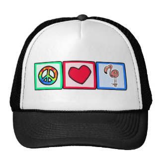 Peace, Love, Pink Flamingos Trucker Hat
