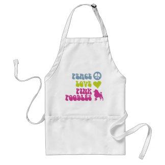 Peace Love Pink Poodles apron, choose style, color Adult Apron