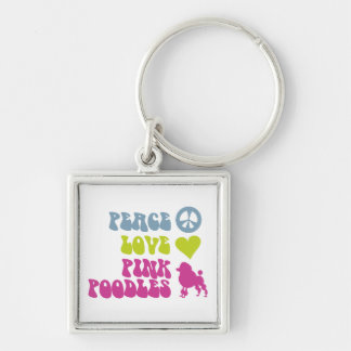 Peace Love Pink Poodles key chain, customize Keychain