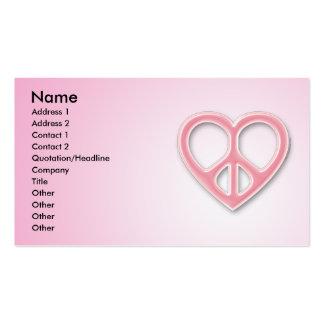 Peace & Love Pink Profile Card Business Card Template