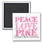 Peace Love Pink Refrigerator Magnet