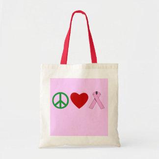 Peace Love Pink Ribbon T shirts, Mugs Canvas Bags