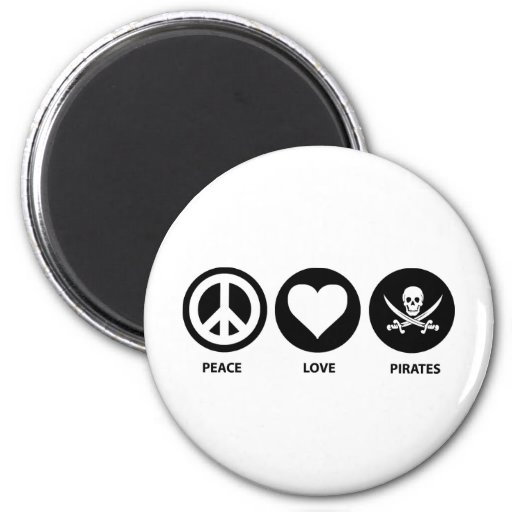 Peace Love Pirates 2 Inch Round Magnet