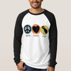 Men's Canvas Long Sleeve Raglan T-Shirt with Peace Love Pish design