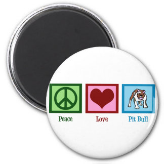Peace Love Pit Bull 2 Inch Round Magnet