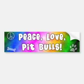 Peace Love Pit Bulls Bumper Sticker