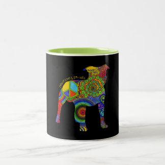 """Peace Love & Pit Bulls"" Pop Art Mug"
