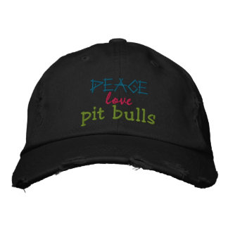 peace, love, pit bulls rugged cap embroidered baseball cap