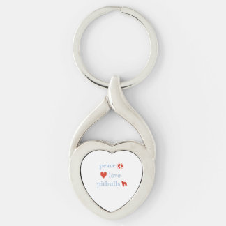 Peace Love Pit Bulls Silver-Colored Heart-Shaped Metal Keychain