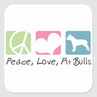 Peace Love Pit Bulls Square Sticker