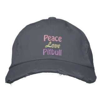 Peace, Love, Pitbull, Anti BSL Embroidered Baseball Hat