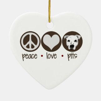 Peace Love Pits Ceramic Ornament
