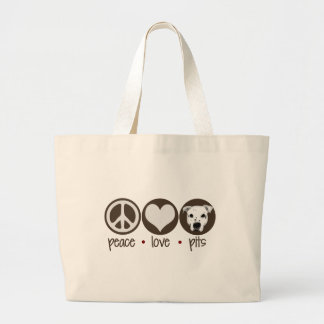 Peace Love Pits Large Tote Bag
