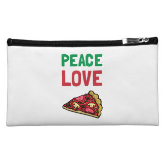 Peace Love Pizza Cosmetic Bags