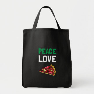 Peace Love Pizza Grocery Tote Bag