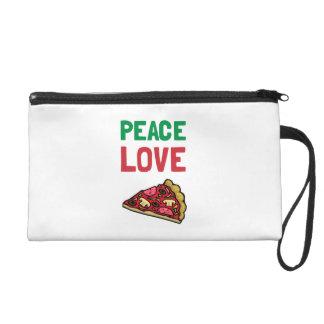 Peace Love Pizza Wristlet Purse