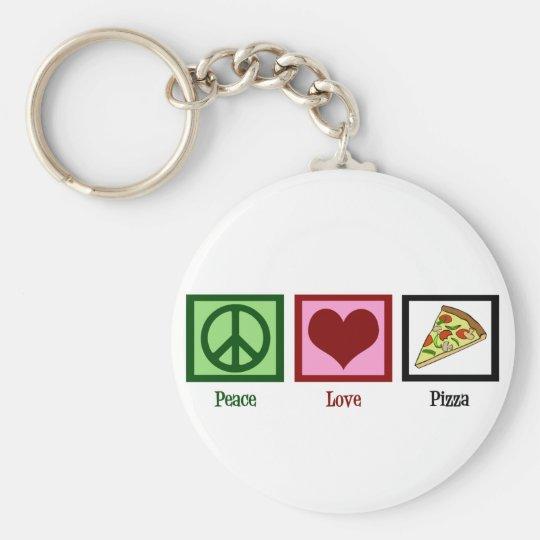 Peace Love Pizza Keychain