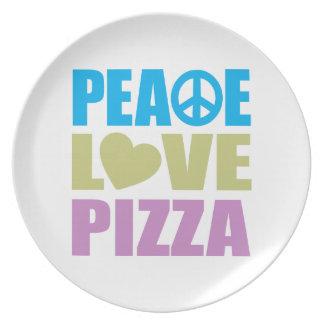 Peace Love Pizza Melamine Plate
