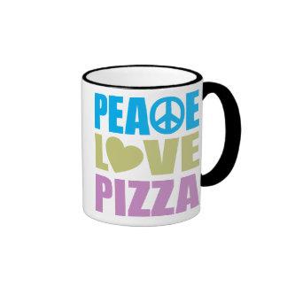 Peace Love Pizza Ringer Coffee Mug
