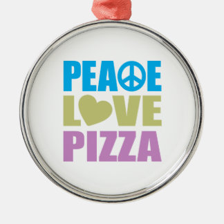 Peace Love Pizza Christmas Ornament