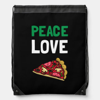Peace Love Pizza Drawstring Backpack