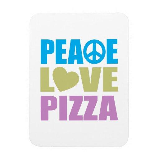 Peace Love Pizza Rectangular Photo Magnet