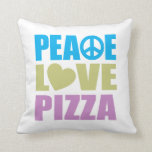Peace Love Pizza Throw Pillow