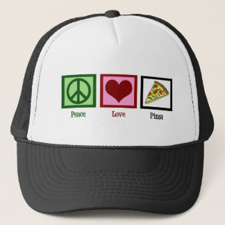 Peace Love Pizza Trucker Hat
