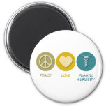 Peace Love Plastic Surgery 2 Inch Round Magnet