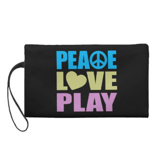 Peace Love Play Wristlet Clutches
