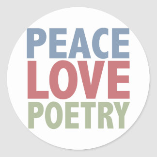 Peace Love Poetry Classic Round Sticker