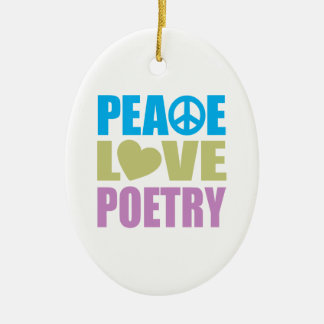 Peace Love Poetry Double-Sided Oval Ceramic Christmas Ornament