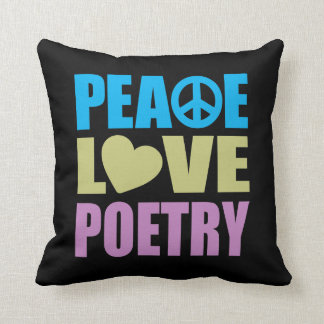 Peace Love Poetry Throw Pillow