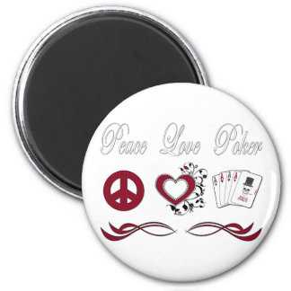 Peace Love Poker 2 Inch Round Magnet
