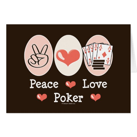 Peace Love Poker Blank Notecard Invite