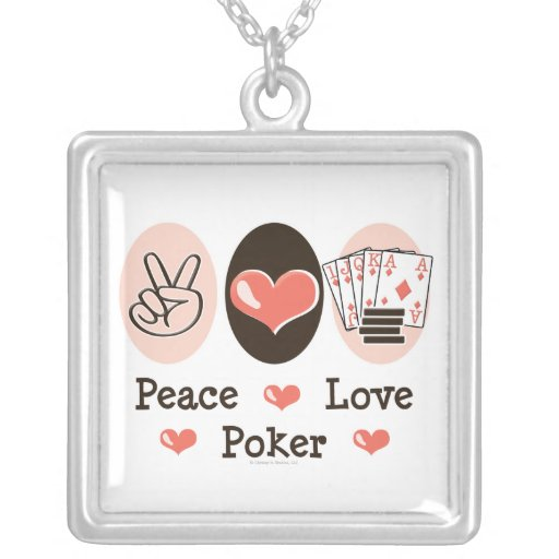 Peace Love Poker Necklace