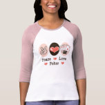 Peace Love Poker Raglan Jersey Tee Shirt