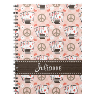 Peace Love Poker Spiral Notebook