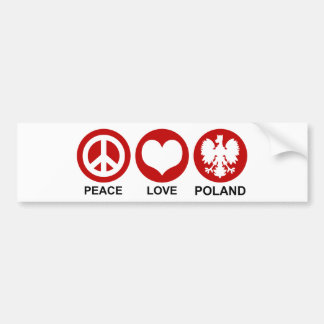 Peace Love Poland Bumper Sticker