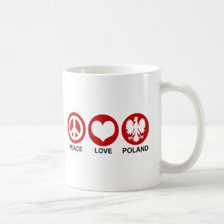 Peace Love Poland Classic White Coffee Mug