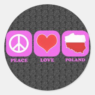 Peace Love Poland Round Stickers