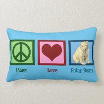 Peace Love Polar Bears Custom Blue Lumbar Pillow